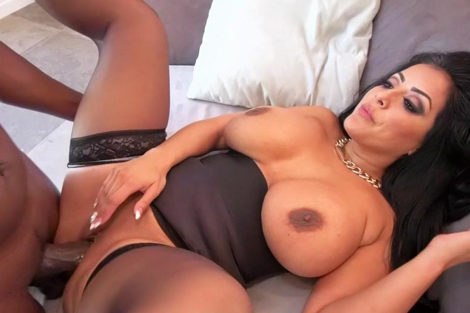 Brunette sucks black cock